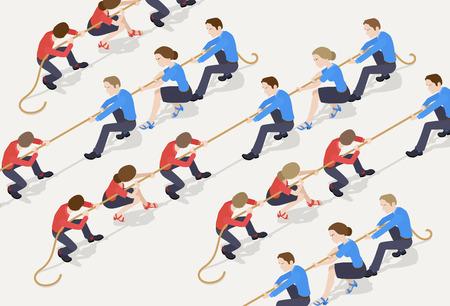 Tauziehen. Das rote Team gegen den blauen Team von Büroangestellten. Konzeptionelle Darstellung für Werbung und Verkaufsförderung