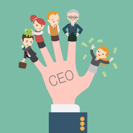 ceo: The hand with the CEO inscription and office workers dolls on the fingers. Conceptual illustration suitable for advertising and promotion