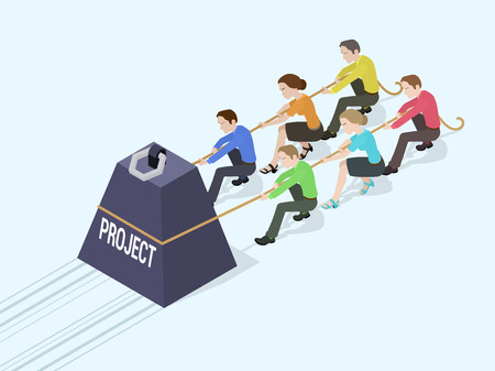 agotado: Grupo de trabajadores de oficina que empujan el peso gigante con la inscripción del proyecto. Ilustración conceptual adecuado para la publicidad y promoción