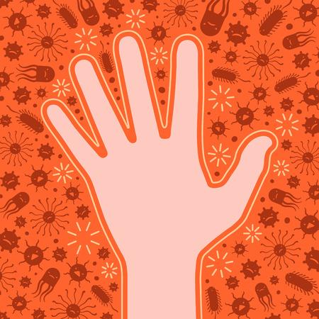 bacterias: Protegida mano limpia a partir de los virus y bacterias. Ilustraci�n conceptual adecuado para la publicidad y promoci�n
