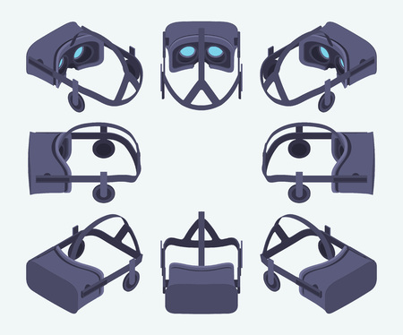 Set of the isometric virtual reality headsets. The objects are isolated against the light-blue background and shown from different sides