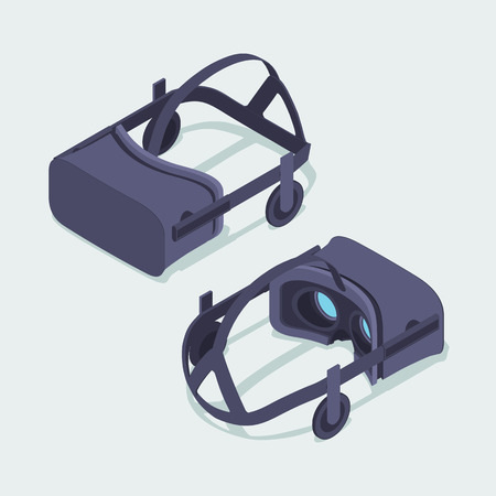 rift: Set of the isometric virtual reality headsets. The objects are isolated against the white background and shown from two sides