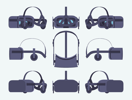 Set of the virtual reality headsets. The objects are isolated against the white background and shown from different sides