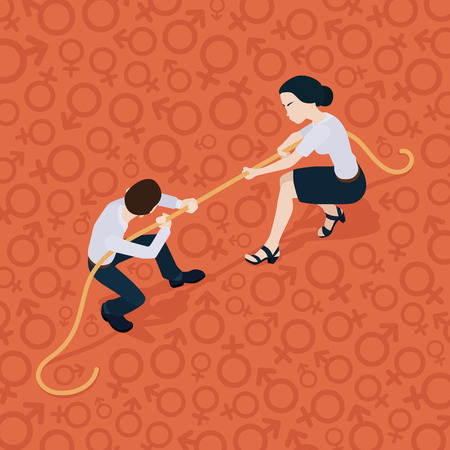 Tug of war. Battle of the sexes. Man against woman. Conceptual illustration suitable for advertising and promotion