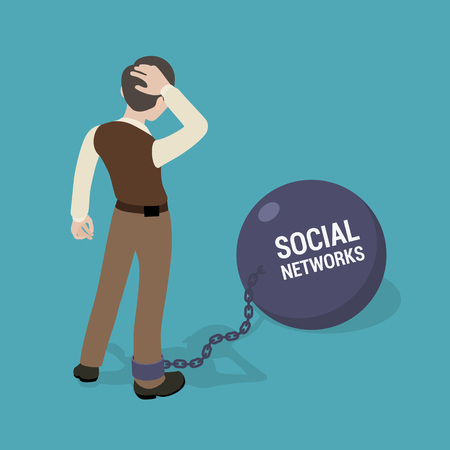chain ball: Man chained to a huge bowl with the inscription Social Networks. Conceptual illustration suitable for advertising and promotion