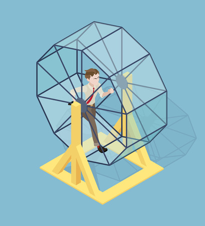 stressed businessman: Stressed businessman running in the rat wheel. Conceptual illustration suitable for advertising and promotion Illustration