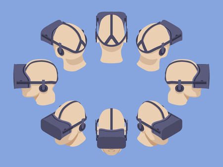 Set of the isometric virtual reality headsets. The objects are isolated against the light-violet background and shown from different sides