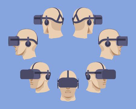 Définir des casques de réalité virtuelle. Les objets sont isolés sur le fond clair-violet et présentés de différents côtés Vecteurs