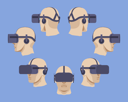 Set of the virtual reality headsets. The objects are isolated against the light-violet background and shown from different sides