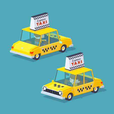 chofer: Mundo Cubico. Taxi amarillo con el conductor dentro. Ilustración adecuado para la publicidad y promoción