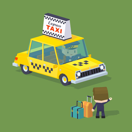hail: Cube World. Traveler with the suitcases trying to hail a taxi. Illustration suitable for advertising and promotion Illustration