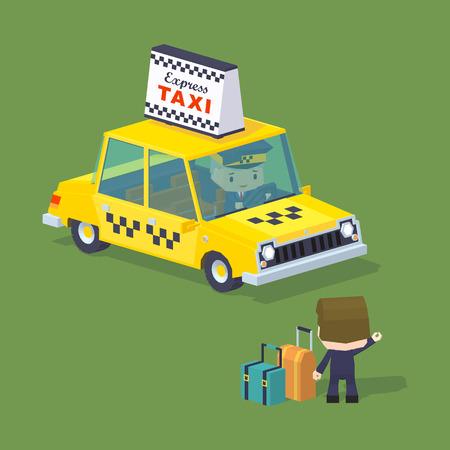 granizo: Mundo Cubico. Los viajeros con las maletas tratando de parar un taxi. Ilustraci�n adecuado para la publicidad y promoci�n