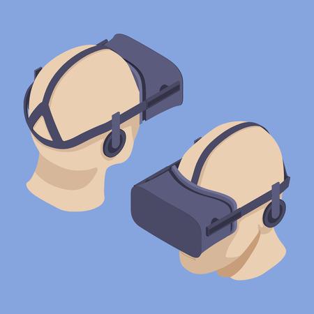 Set der isometrischen Virtual Reality Headsets. Die Objekte werden im Gegenlicht-violettem Hintergrund isoliert und von zwei Seiten gezeigt