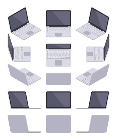 Set of the isometric gray laptops. The objects are isolated against the white background and shown from different sides
