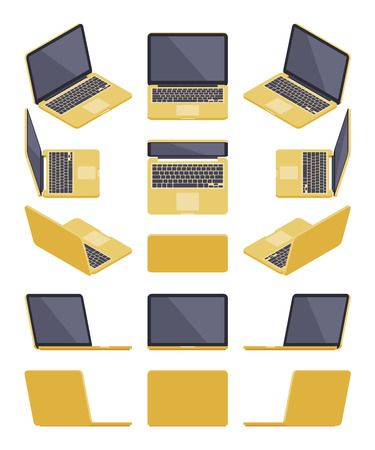 Set of the isometric golden laptops. The objects are isolated against the white background and shown from different sides Illustration