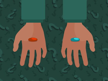 pills: Hands with the red and blue pills against the question mark background. Conceptual illustration suitable for advertising and promotion Illustration