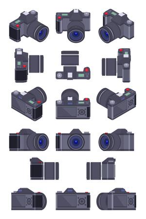 macchina fotografica: Insieme delle macchine fotografiche isometrici. Gli oggetti sono isolati contro lo sfondo bianco e mostrati da diverse parti