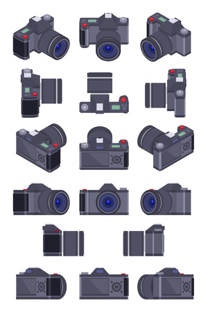 camera: Set of the isometric photo cameras. The objects are isolated against the white background and shown from different sides Illustration
