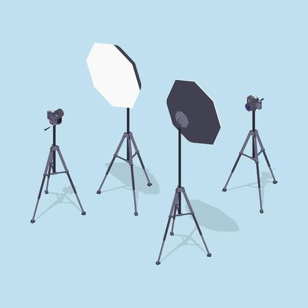 macchina fotografica: Foto isometrico telecamere, cavalletti e softbox. Illustrazione adatto per la pubblicità e la promozione Vettoriali