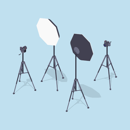 dishes set: Isometric photo cameras, tripods and softboxes. Illustration suitable for advertising and promotion Illustration