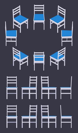 exclusive collection: Set of the isometric white chairs. The objects are isolated against the dark-violet background and shown from different sides Illustration