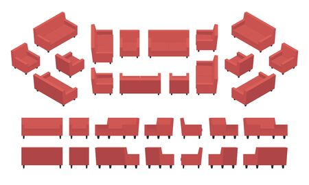 sitting on sofa: Set of the isometric red modern armchairs and sofas. The objects are isolated against the white background and shown from different sides