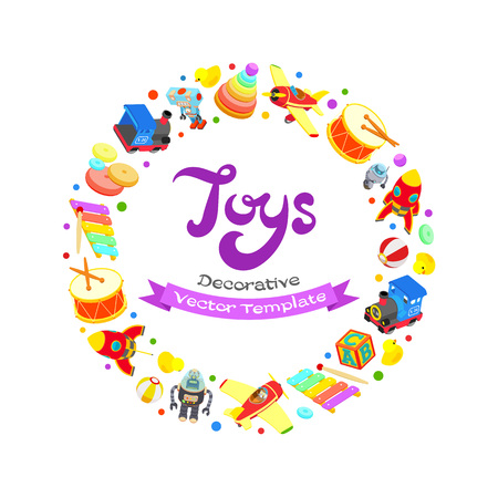 toys: Vector decorating design made of toys. Colorful card template with copy space