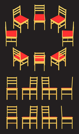 chair: Set of the isometric yellow chairs. The objects are isolated against the black background and shown from different sides Illustration