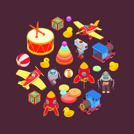 Vector decorating design made of toys. Colorful card template Vettoriali