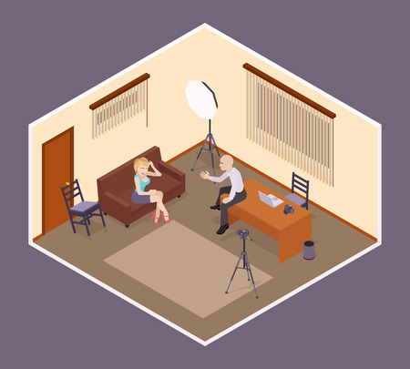 busty: Interview scene. Man-employer hires an attractive young woman. Conceptual illustration suitable for advertising and promotion