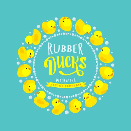 pato caricatura: Diseño del vector decoración hecha de patos de goma amarillos. Plantilla de la tarjeta colorido con espacio de copia Vectores
