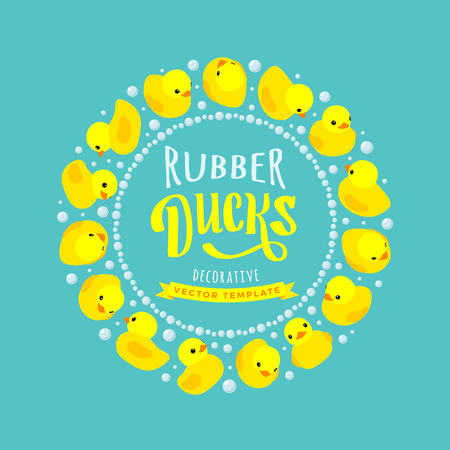 rubber duck: Vector decorating design made of yellow rubber ducks. Colorful card template with copy space