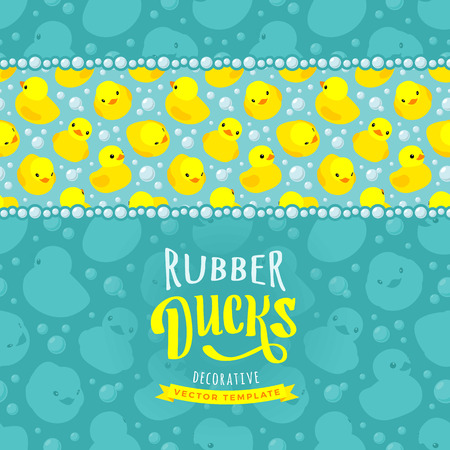 Vector decorating design made of yellow rubber ducks. Colorful card template with copy space