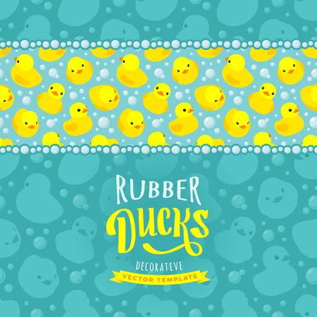 Diseño del vector decoración hecha de patos de goma amarillos. Plantilla de la tarjeta colorido con espacio de copia