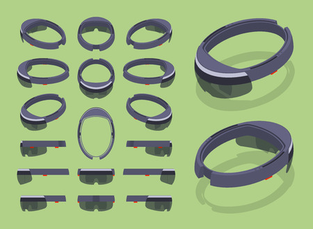 cyberpunk: Set of the isometric augmented reality headsets. The objects are isolated against the green background and shown from different sides Illustration
