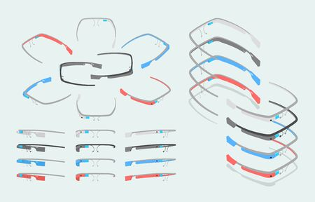 augmentation: Isometric augmented reality glasses of different colors. The objects are isolated against the light-blue background and shown from different sides Illustration