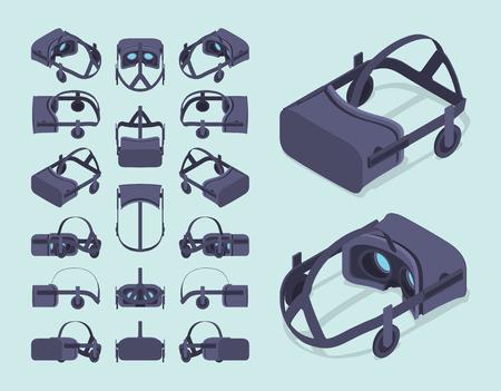 Set der isometrischen Virtual Reality Headsets. Die Objekte werden gegen den hellblauen Hintergrund und von verschiedenen Seiten gezeigt Illustration