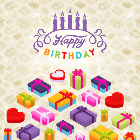 Birthday vector decorating design. Colorful card template with copy space Vettoriali