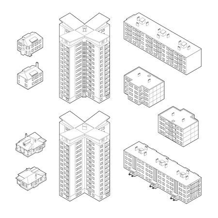 dwelling: Set of the black and white isometric dwelling buildings Illustration