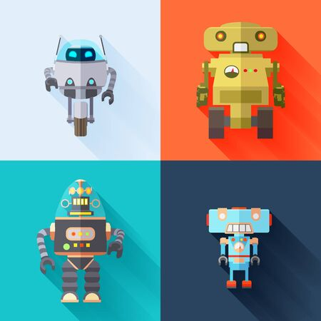 Set of the toy robots with long shadows against the multi-colored background Vectores