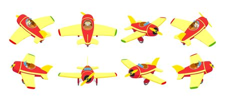 toy plane: Set of the isometric toy plane. The objects are isolated against the white background and shown from different sides
