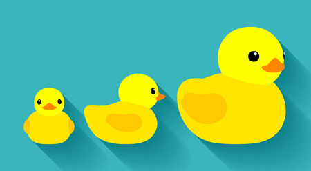 duck toy: Yellow rubber ducks. Illustration suitable for advertising and promotion