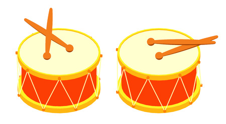 drum sticks: Isometric drum and drum sticks. The objects are isolated against the white background and shown from two sides