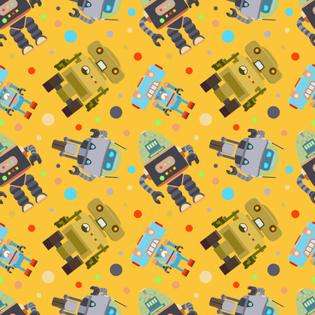 fully editable: Robots Seamless Pattern. The layout is fully editable