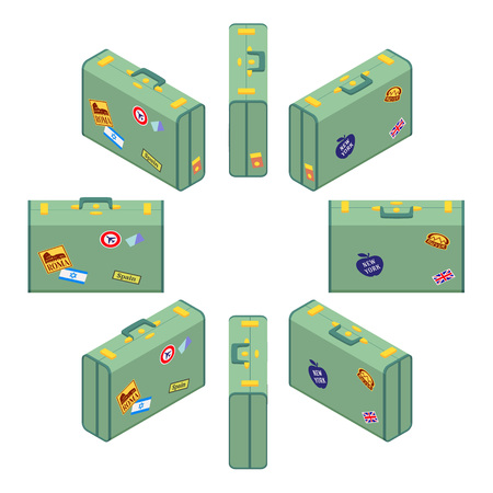 jack plane: Set of the isometric standing green travelers suitcases. The objects are isolated against the white background and shown from different sides Illustration