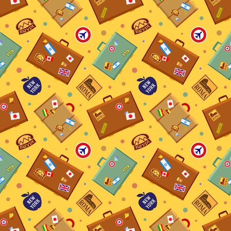 jack plane: Suitcases seamless pattern. The layout is fully editable