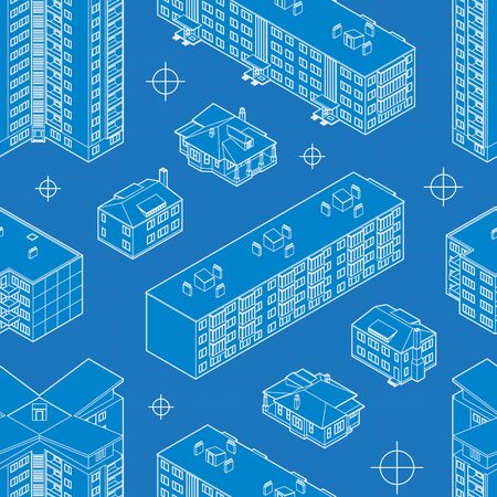 dwelling: Blueprint dwelling buildings seamless pattern. The layout is fully editable