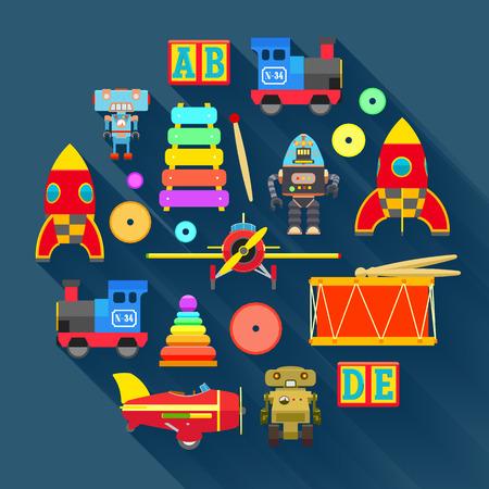 juguetes: Ilustraci�n del concepto con los juguetes. Adecuado para la publicidad y promoci�n Vectores