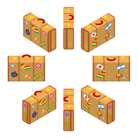 jack plane: Set of the isometric standing yellow travelers suitcases. The objects are isolated against the white background and shown from different sides