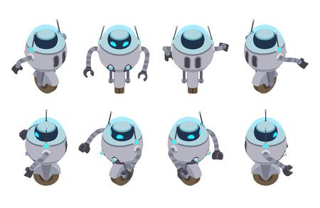 robot: Conjunto de los robots futuristas isométricos. Los objetos están aislados contra el fondo blanco y se muestran desde diferentes lados